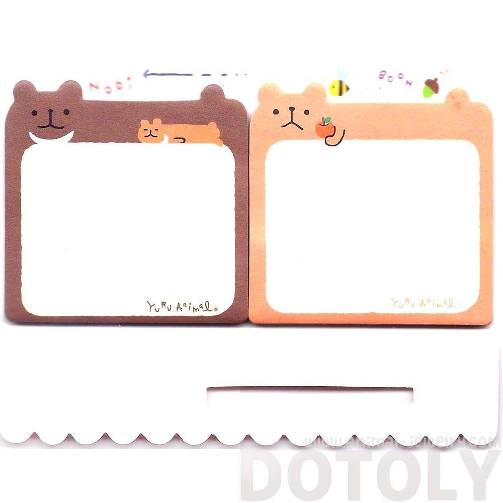 Cartoon Illustrated Brown Teddy Bear Shaped Animal Sticky Post-it Memo Note Pads | DOTOLY