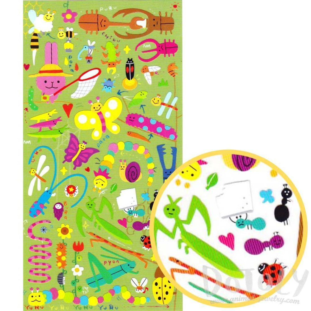 Cartoon Illustrated Snail Grasshopper Beetles Bugs Insect Themed Stickers from Japan | DOTOLY