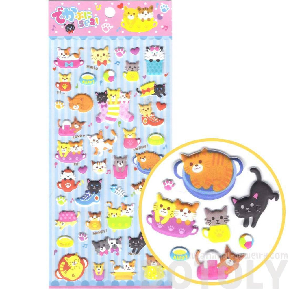 Cartoon Kitty Cat Shaped Japanese Animal Themed Puffy Stickers for Scrapbooking | DOTOLY
