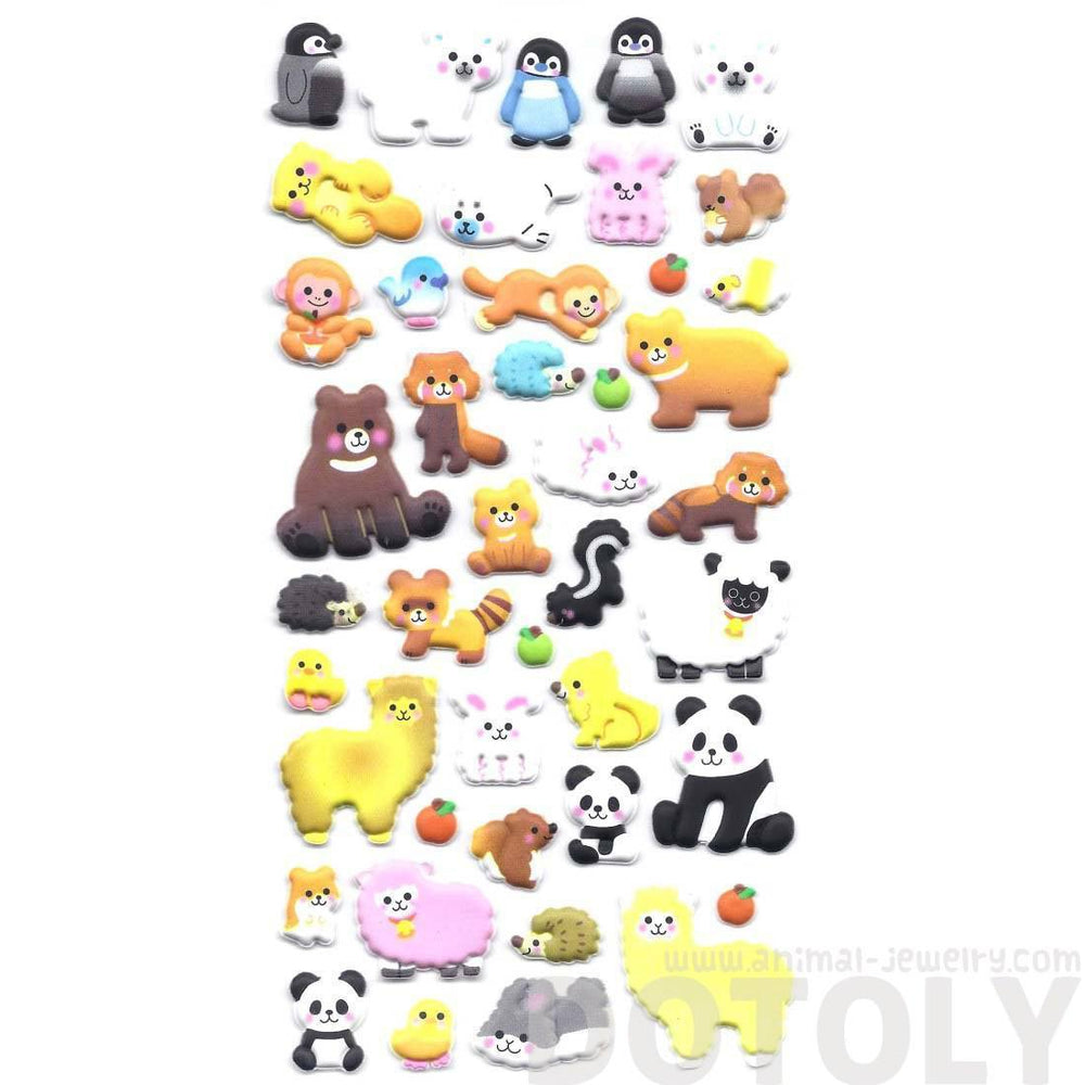 Cartoon Mixed Animal Monkey Alpaca Panda Porcupine Puffy Stickers for Scrapbooking from Japan | DOTOLY