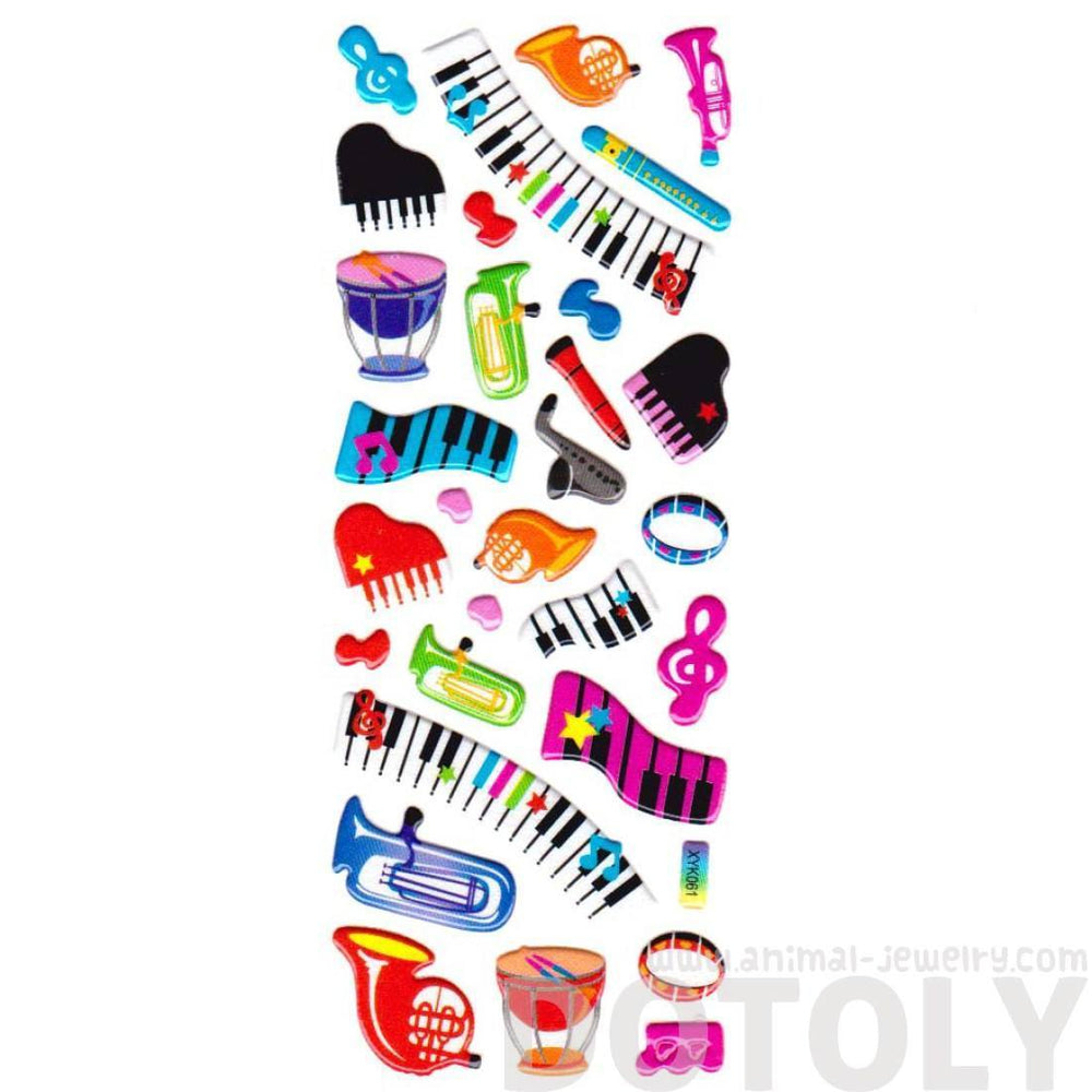 Cartoon Musical Instruments Keyboards and Treble Clefs Music Themed Puffy Stickers for Kids | DOTOLY