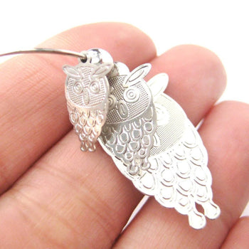 Cartoon Owl Shaped Dangle Hoop Earrings in Silver | Animal Jewelry | DOTOLY