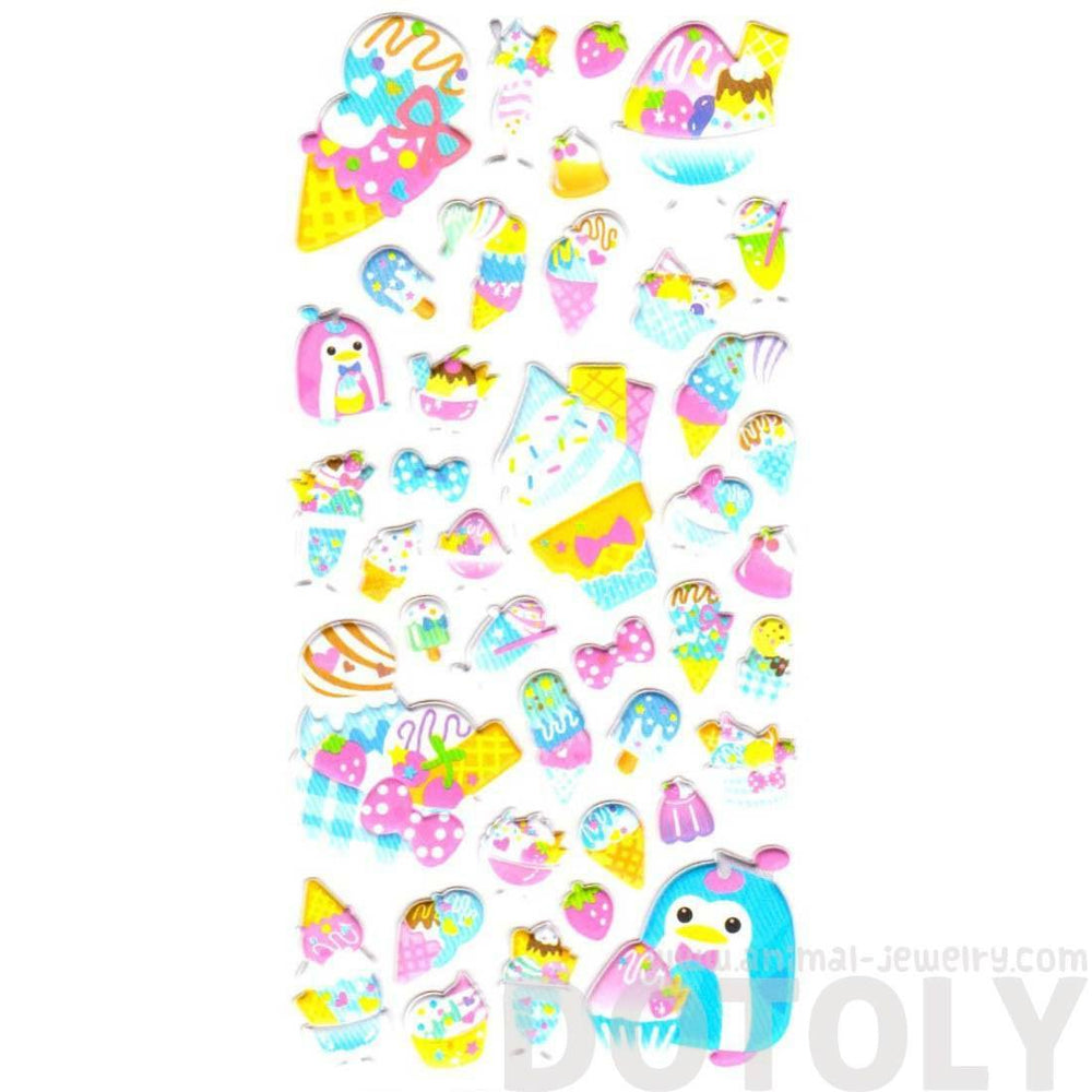 Cartoon Penguin Ice Cream Desserts and Food Themed Puffy Stickers for Scrapbooking | DOTOLY