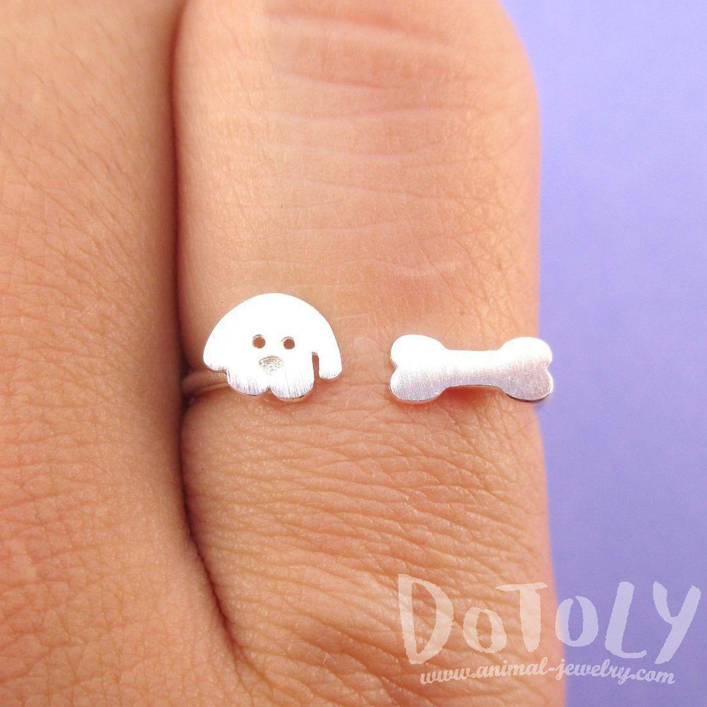 Cartoon Puppy Dog Face and Bone Shaped Adjustable Ring in Silver | DOTOLY | DOTOLY