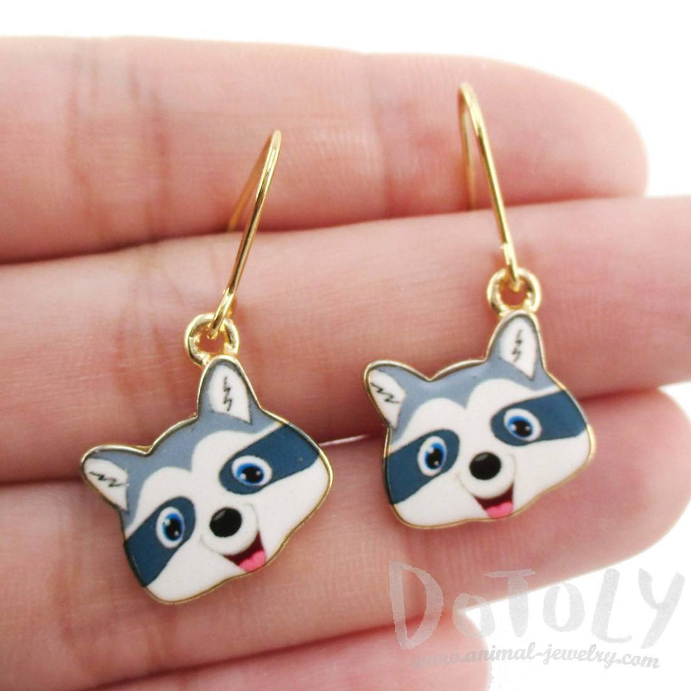 Cartoon Raccoon Face Shaped Dangle Drop Earrings | Animal Jewelry | DOTOLY