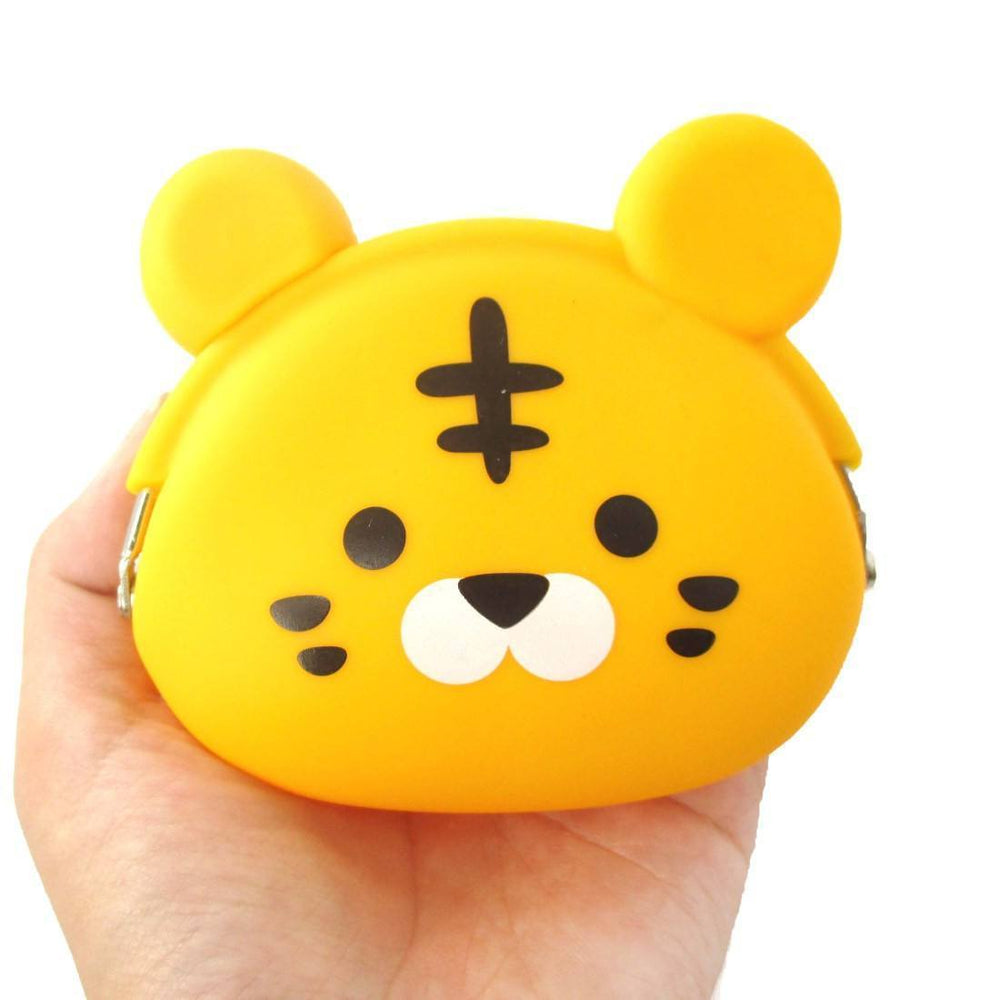Cartoon Tiger Shaped Mimi Pochi Animal Friends Silicone Clasp Coin Purse Pouch | DOTOLY