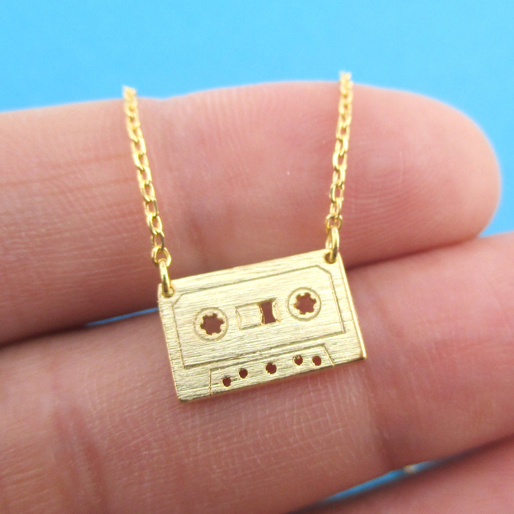 Cassette Mixed Tape Retro Friendship Pendant Necklace in Gold