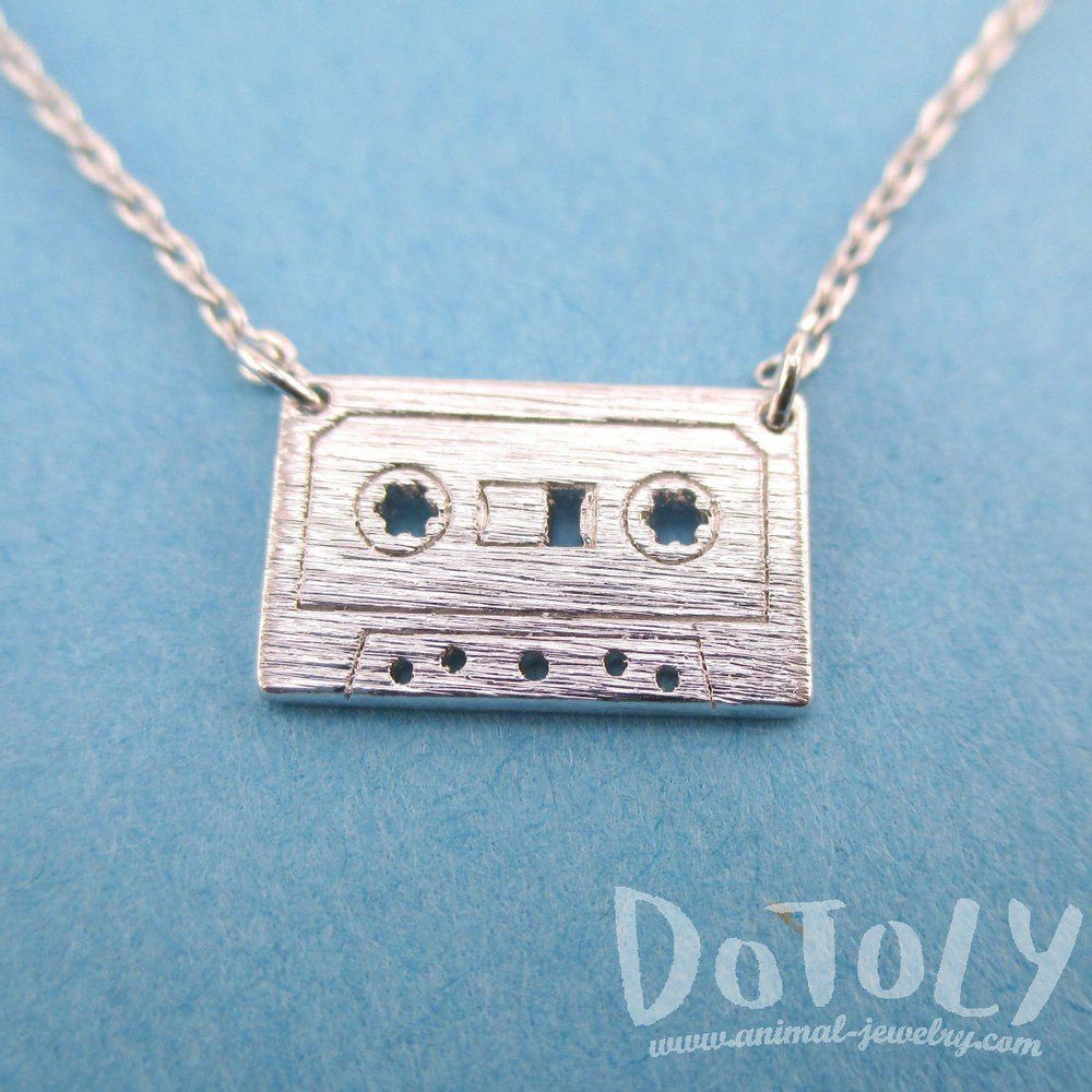 Cassette Mixed Tape Retro Friendship Pendant Necklace in Silver | DOTOLY | DOTOLY