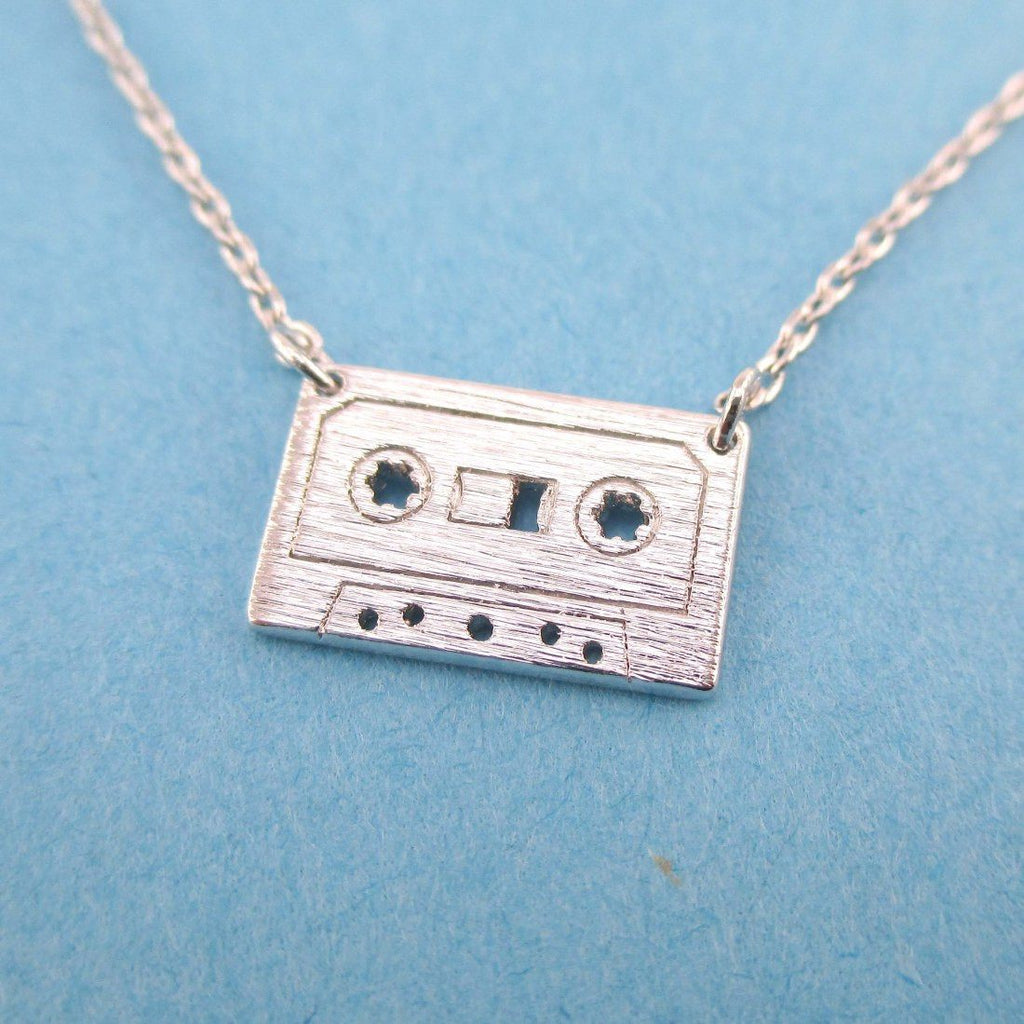 Friendship Pendant Necklace Cassette mixed tape retro friendship pendant necklace in silver dotoly audiocablefo