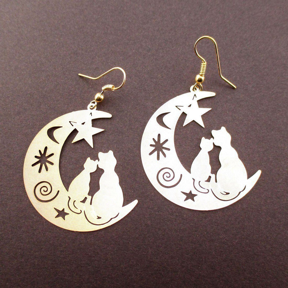 Cats on a Crescent Moon Cut Out Silhouette Shaped Dangle Earrings in Gold | Animal Jewelry | DOTOLY