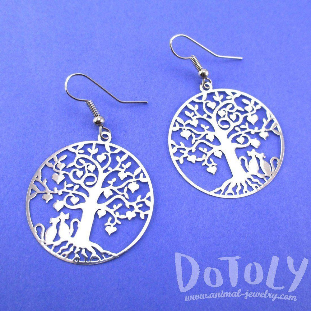 Cats Sitting under a Tree Silhouette Shaped Dangle Earrings in Silver | Animal Jewelry | DOTOLY