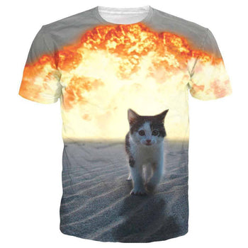 Catsplosion Kitty Cat Walking Away From Explosion Print Graphic Tee | DOTOLY
