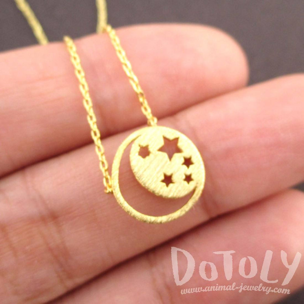 Celestial Crescent Moon and Stars Cut Out Shaped Pendant Necklace in Gold | DOTOLY | DOTOLY