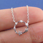 Celestial Stars Shaped Round Pendant Necklace in Silver