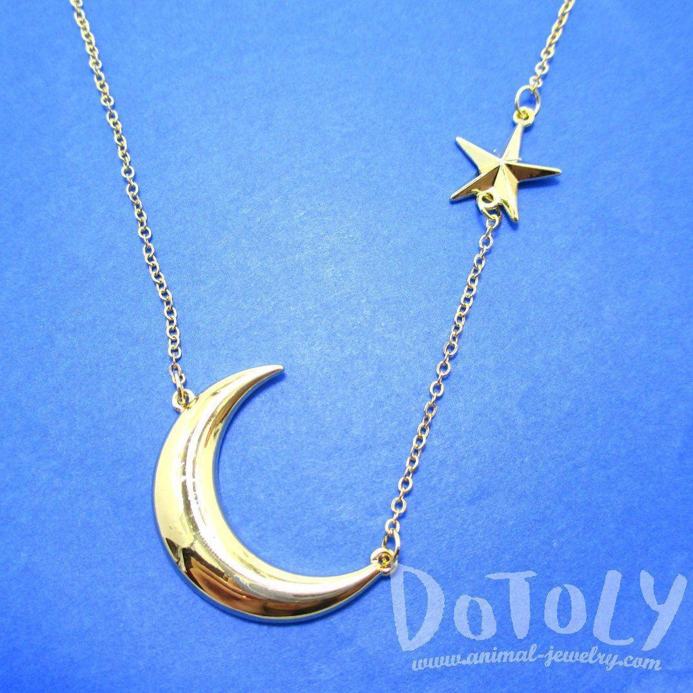 Celestrial Crescent Moon and Stars Charm Necklace in Gold | DOTOLY | DOTOLY