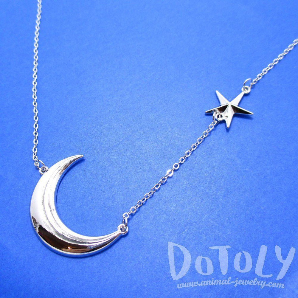 Celestrial Crescent Moon and Stars Charm Necklace in Silver | DOTOLY | DOTOLY