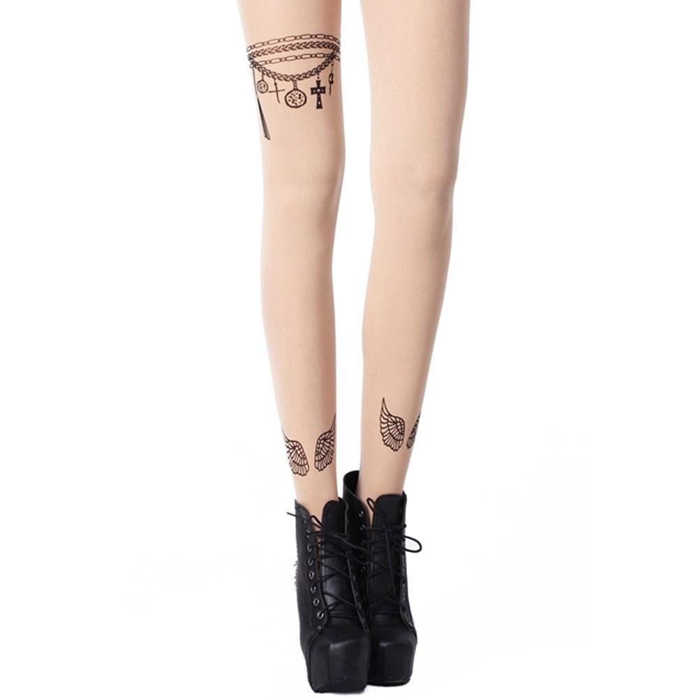 Chain Pendant and Angel Wings Feather Sheer Nude Tattoo Tights for Women | DOTOLY | DOTOLY