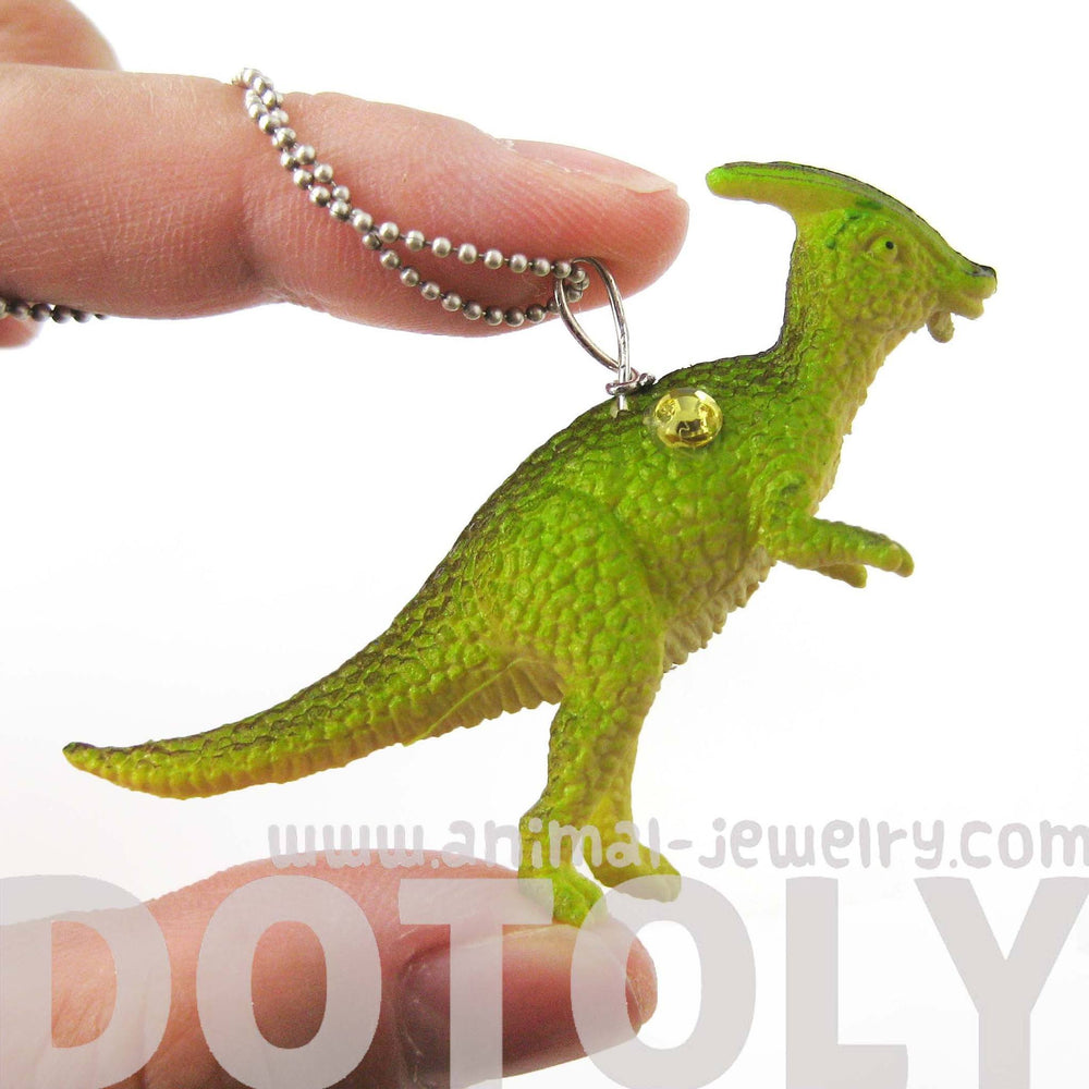 Charonosaurus Dinosaur Shaped Pendant Necklace in Green | Animal Jewelry | DOTOLY