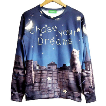 Chase Your Dreams Kitty Cat Wishing Upon A Star Print Pullover Sweatshirt | DOTOLY