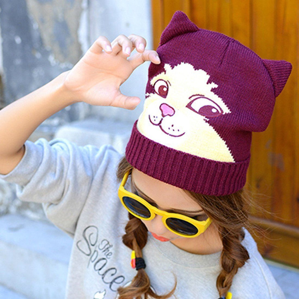 Cheeky Kitty Cat Face Shaped Animal Themed Knit Beanie in Maroon | DOTOLY