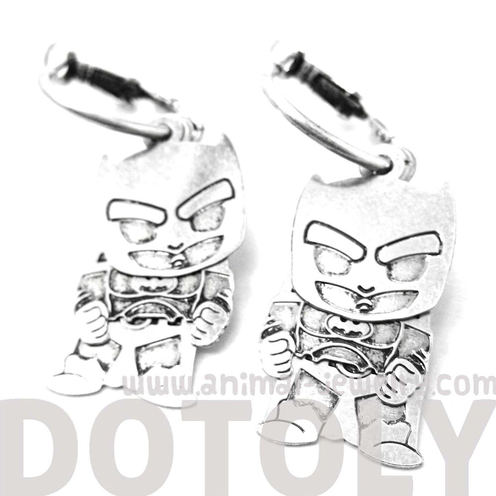 Chibi Batman Shaped Dangle Hoop Earrings in Silver | DOTOLY | DOTOLY