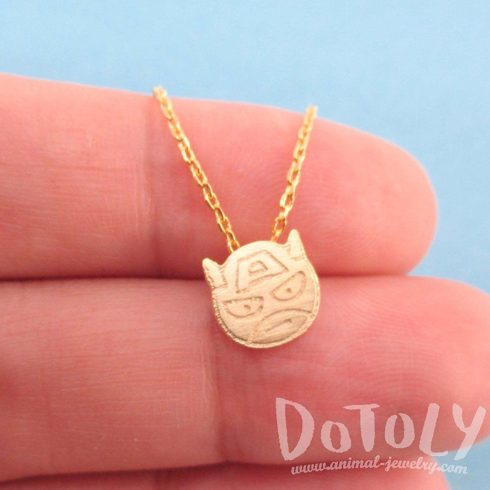 Chibi Captain America Shaped Charm Necklace in Gold | Super Hero Jewelry | DOTOLY