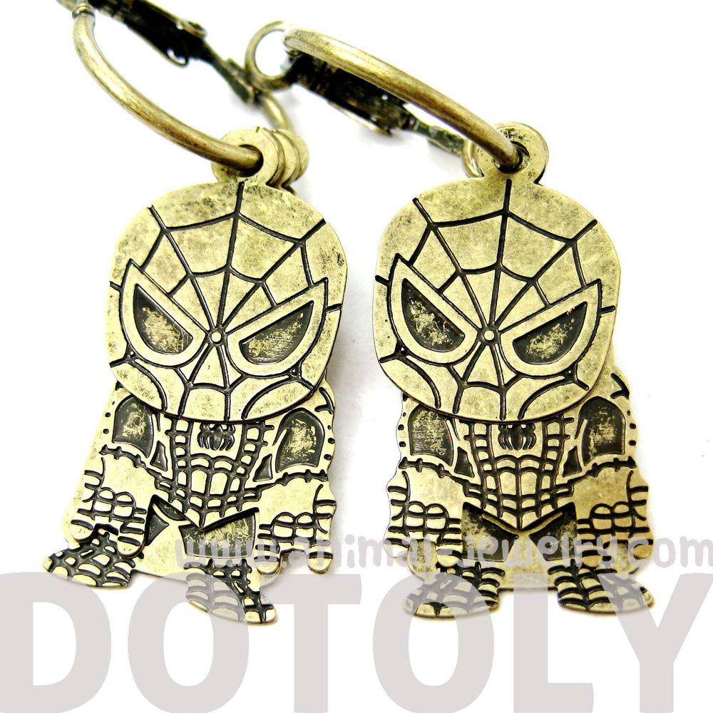 Chibi Spiderman Shaped Dangle Hoop Earrings in Brass | DOTOLY | DOTOLY