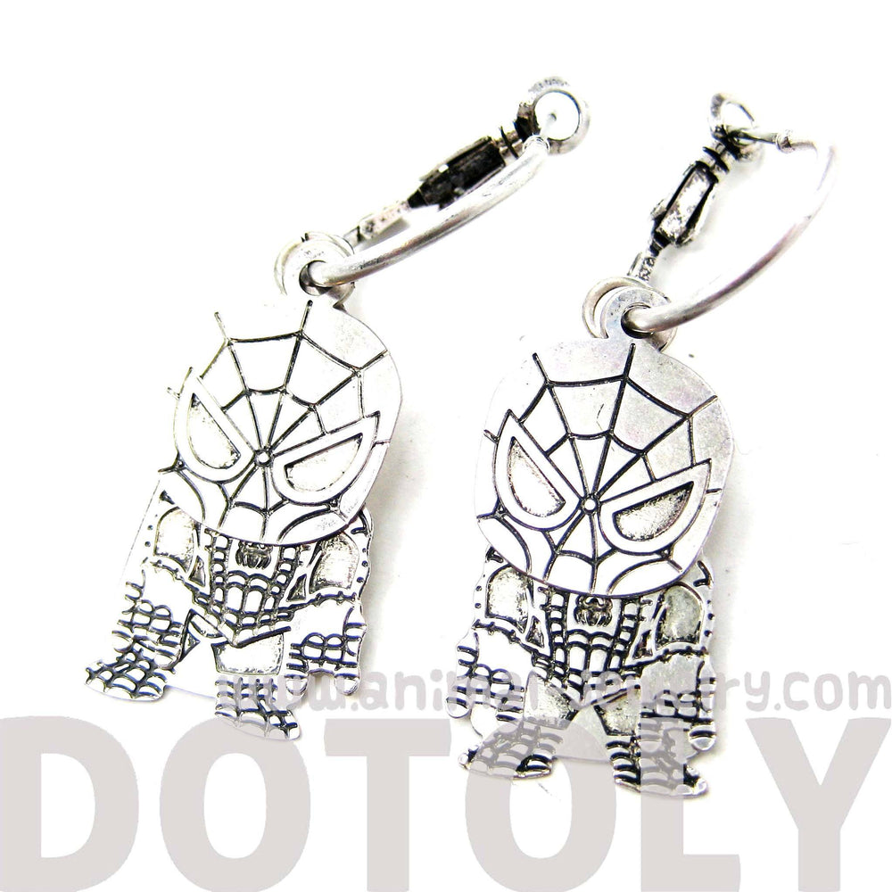 Chibi Spiderman Shaped Dangle Hoop Earrings in Silver | DOTOLY | DOTOLY
