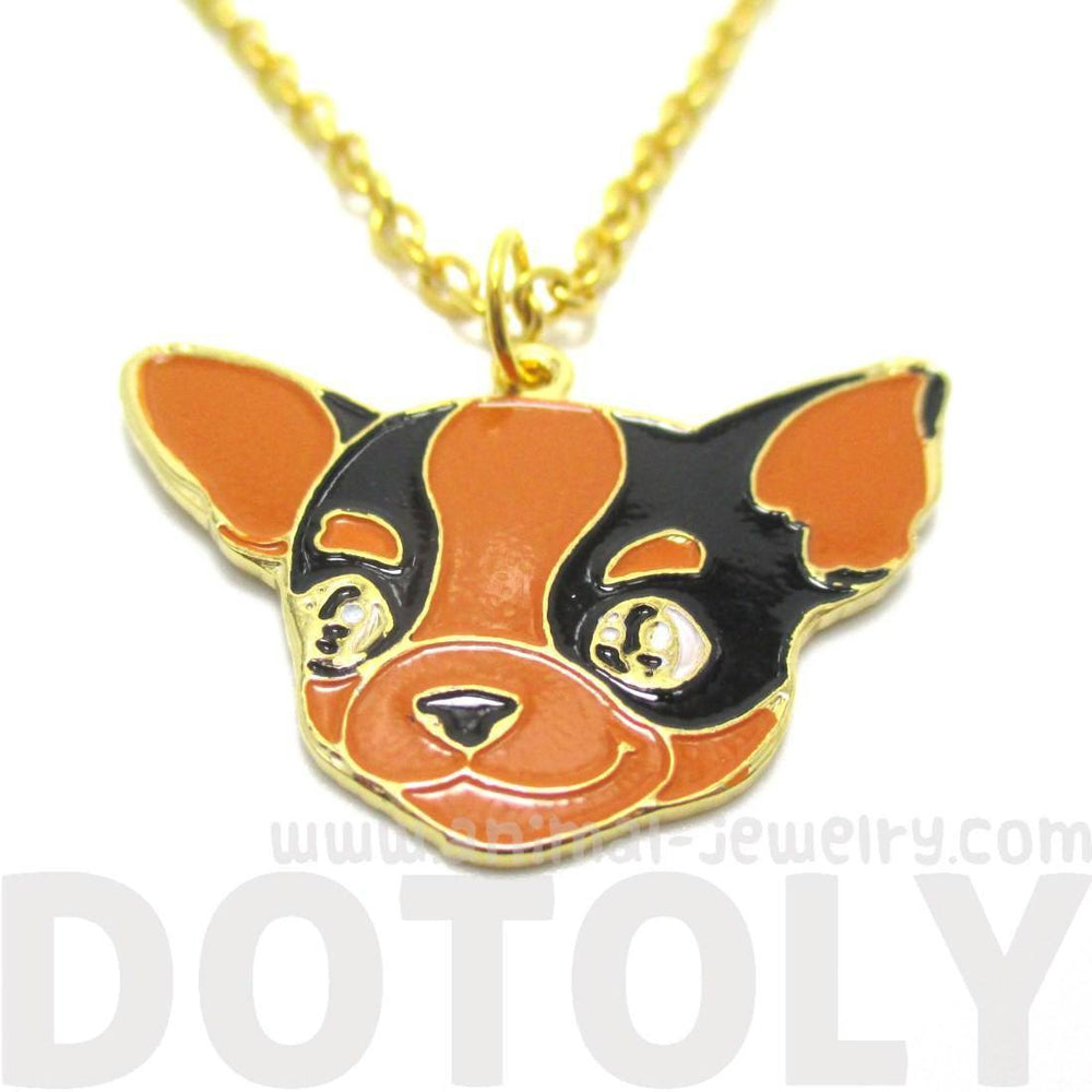 Chihuahua Puppy Shaped Animal Pendant Necklace in Black