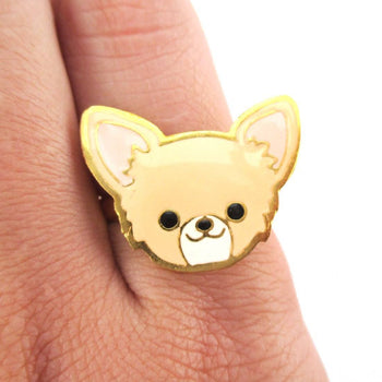 Chihuahua Puppy Face Shaped Adjustable Animal Ring in Tan | DOTOLY