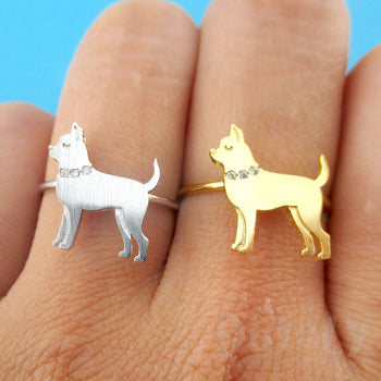 Chihuahua with Rhinestone Collar Shaped Adjustable Ring for Dog Lovers