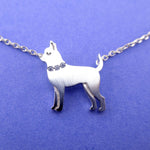 Chihuahua with Rhinestone Collar Shaped Pendant Necklace in Rose Gold Silver or Gold