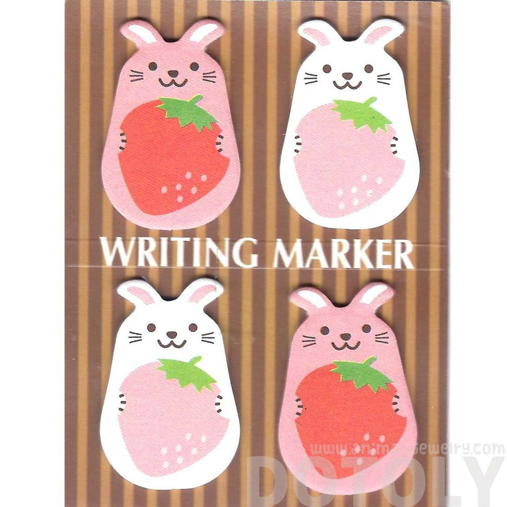 Chubby Bunny Rabbit and Strawberry Animal Memo Post-it Writing Markers