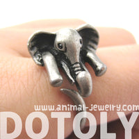 African Elephant Animal Wrap Around Ring in Silver - Sizes 6 to 10.5 Available | DOTOLY