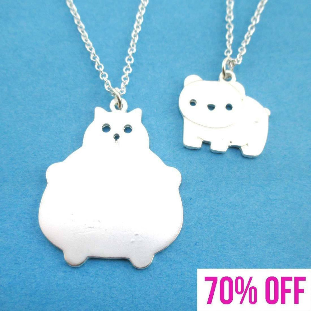 Chubby Kitty Cat and Bear Shaped Necklace 2 Piece Set in Silver