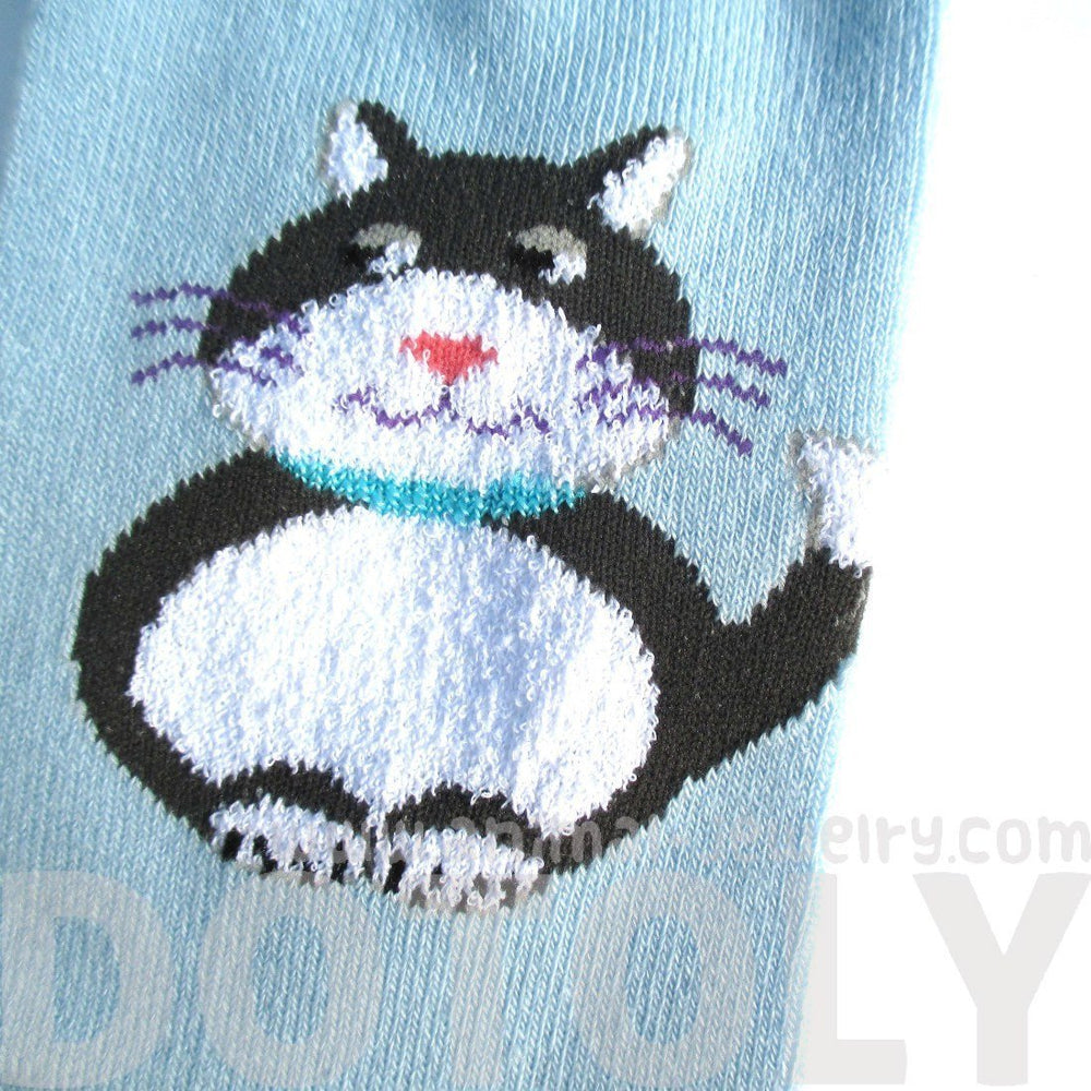 Chubby Kitty Cat and Mouse Novelty Print Long Socks for Women in Blue