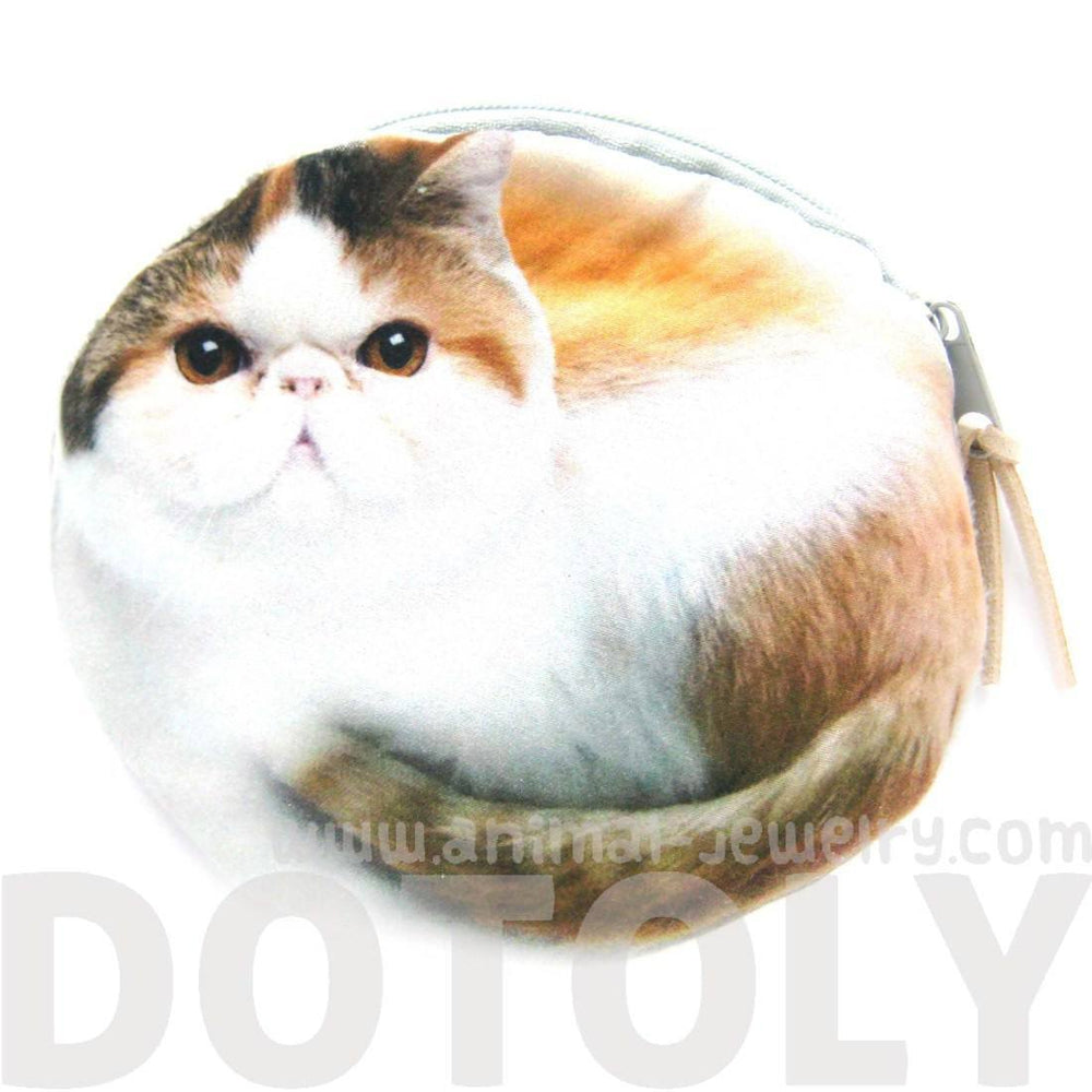 Chubby Kitty Cat Shaped Digital Print Zipper Coin Purse Make Up Bag