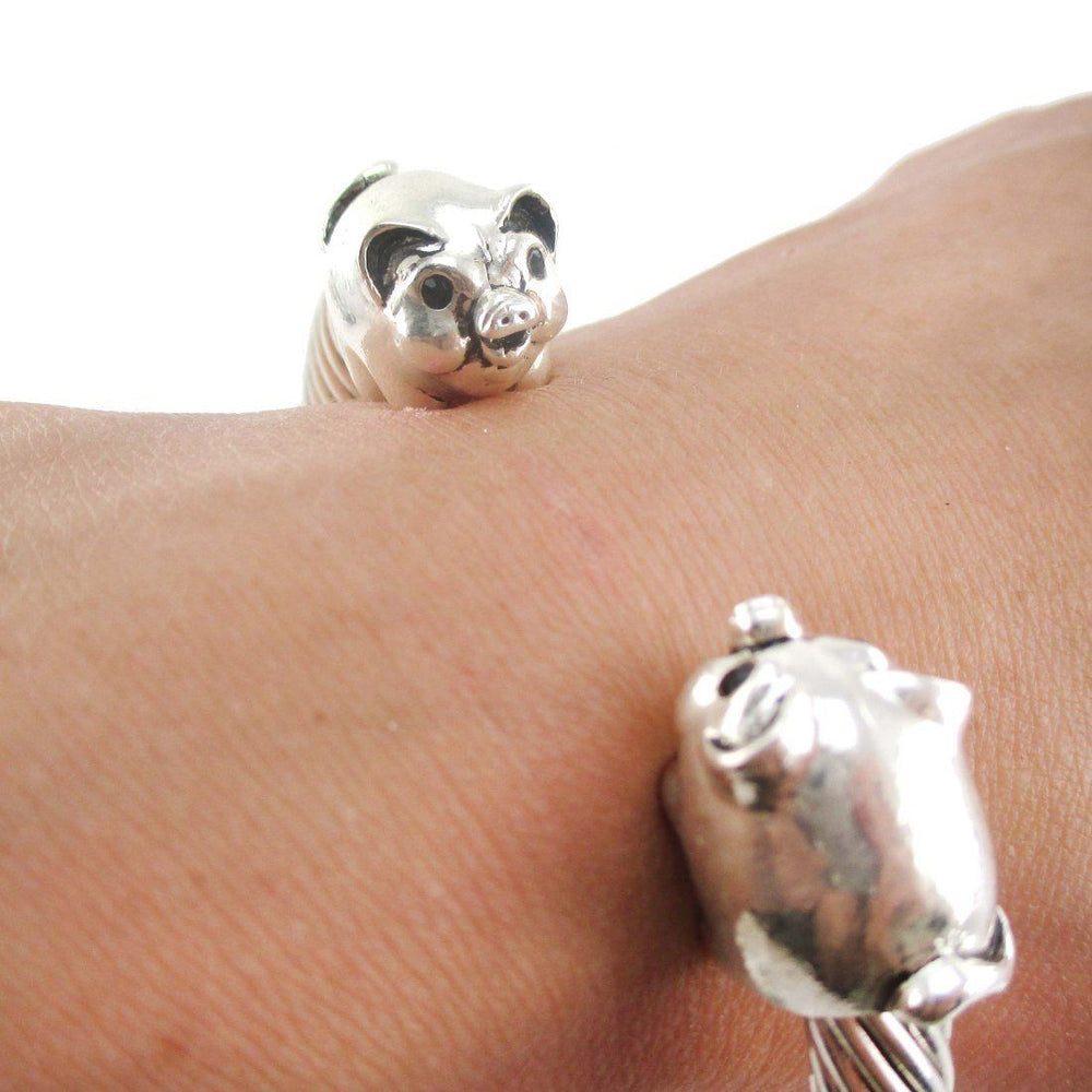 Chubby Piglet Pig Shaped Bangle Bracelet in Silver | DOTOLY