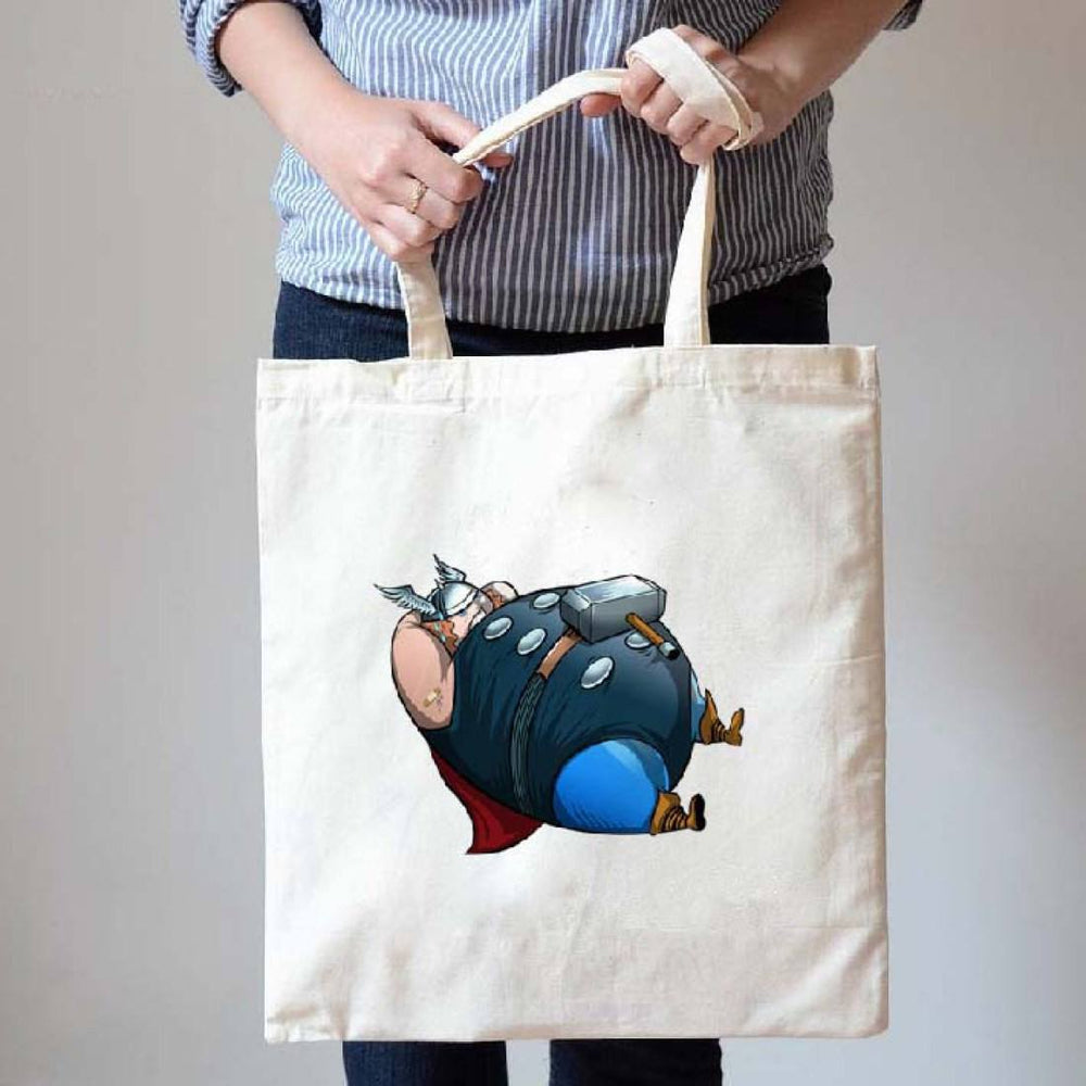 Chubby Thor Avengers Doing Sit-Ups Illustrated Canvas Tote Shopper Bag