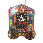 Circus Ringmaster Kitty Cat Shaped Illustrated Resin Pendant Necklace