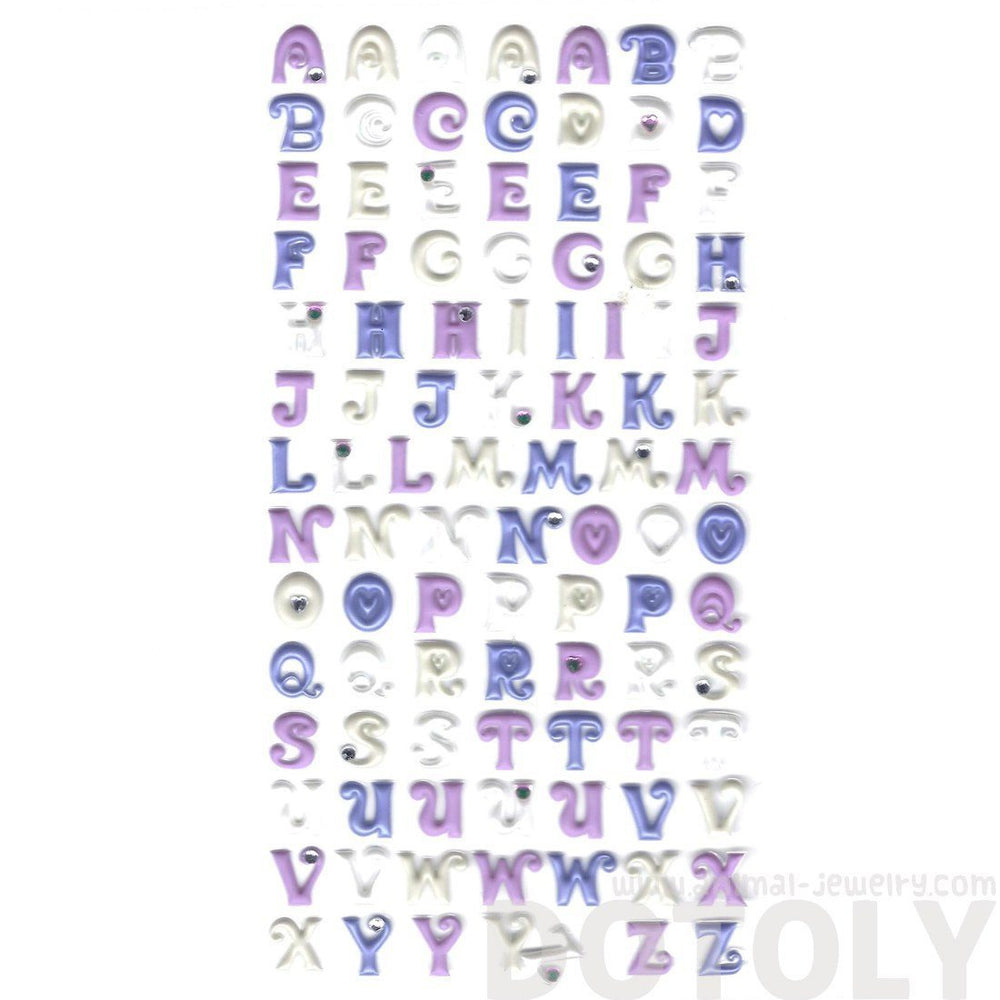 Purple Alphabet ABCs Shaped Puffy Fancy Typography Stickers for Scrapbooking | DOTOLY