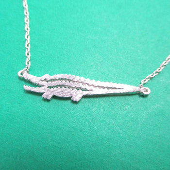 Minimal Crocodile Alligator Shaped Charm Necklace in Silver | DOTOLY | DOTOLY
