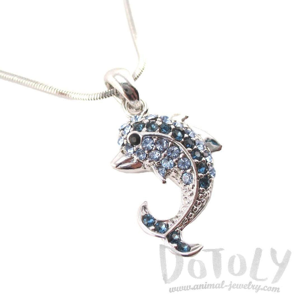 Classic Dolphin Shaped Pendant Necklace in Silver with Blue Rhinestones