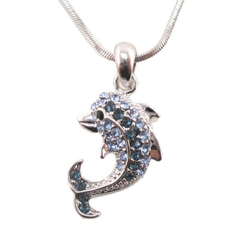 Classic Dolphin Shaped Pendant Necklace in Silver with Blue Rhinestone