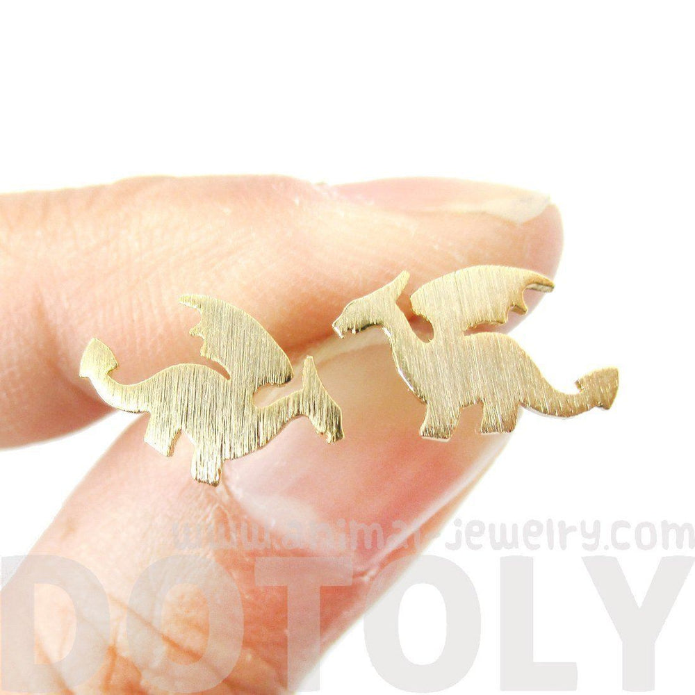 Classic Dragon Silhouette Shaped Allergy Free Stud Earrings in Gold | Animal Jewelry | DOTOLY