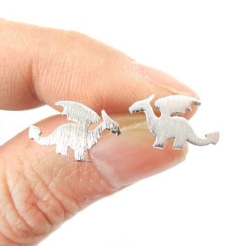 Classic Dragon Silhouette Shaped Allergy Free Stud Earrings in Silver | Animal Jewelry | DOTOLY