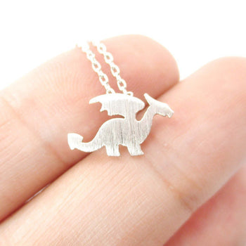 Classic Dragon Silhouette Shaped Pendant Necklace in Silver | Animal Jewelry | DOTOLY