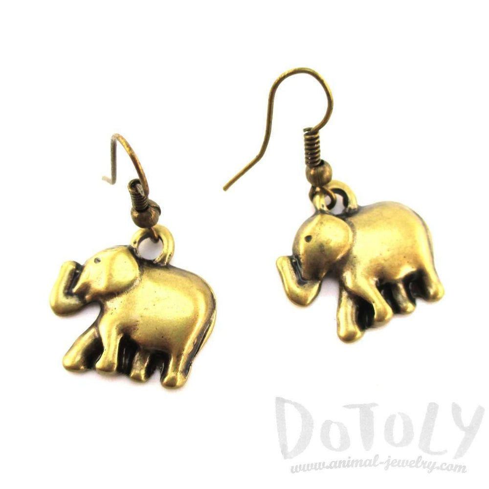 Classic Elephant Shaped Dangle Charm Earrings in Brass | DOTOLY | DOTOLY
