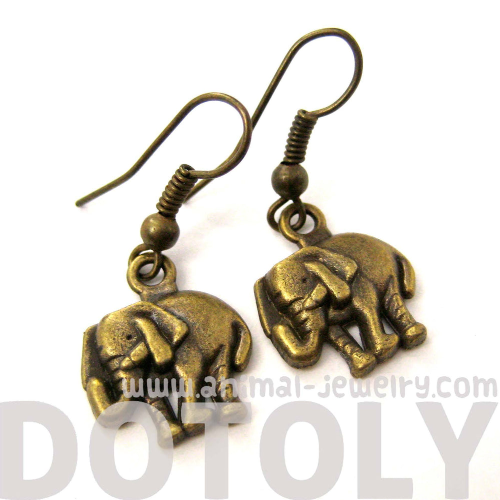 Classic Elephant Shaped Dangle Earrings in Brass | Animal Jewelry | DOTOLY