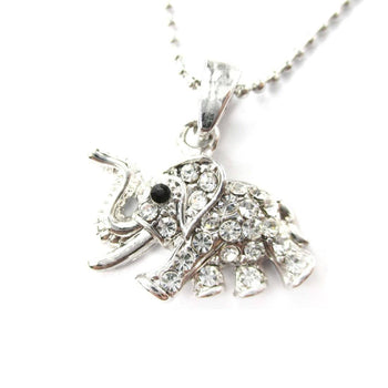 Classic Elephant Shaped Rhinestone Pendant Necklace in Silver | DOTOLY | DOTOLY